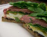 Roast Beef Whole grain Open Sandwich with Spinach, Egg, Fresh Mozzarella & Prunes
