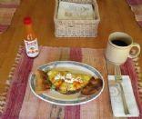 Veggie, shrimp one egg omelette