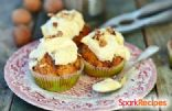 healthy carrot muffins with cream cheese frosting