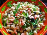 Whole Grain Pasta, Shrimp and Veggie Salad