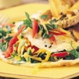 Omelet w/ liquid egg whites, greens, tomato, onion & garlic