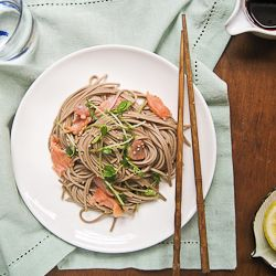Hakubaku Soba Noodles and Smoked Salmon Recipe (on package)