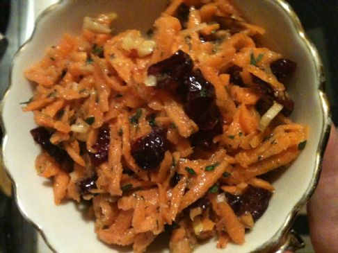 Carrot Slaw with Crasins and Toasted Walnuts
