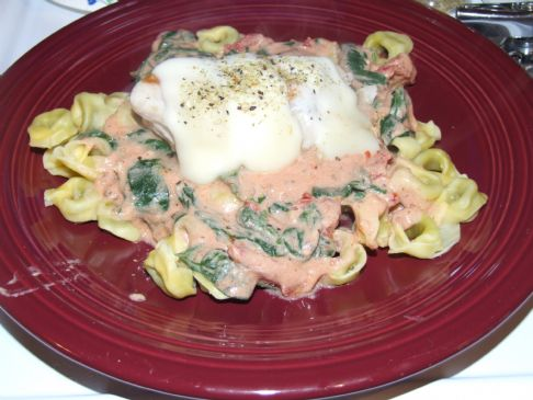Chicken and Tortellini with Creamy Tomato Sauce