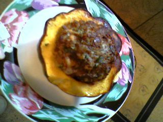 Ground Beef'n Acorn Squash Bake