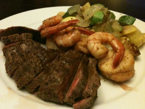 Tri Tip Surf and Turf with Savory Vegetables and Pan Sauce