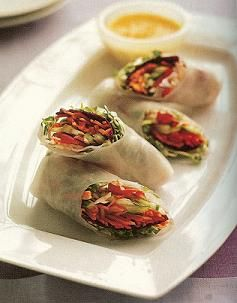 Healthy Spring Rolls with Carrot-Ginger Dipping Sauce