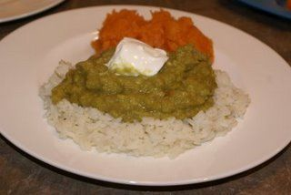 Curried Split Peas on Rice