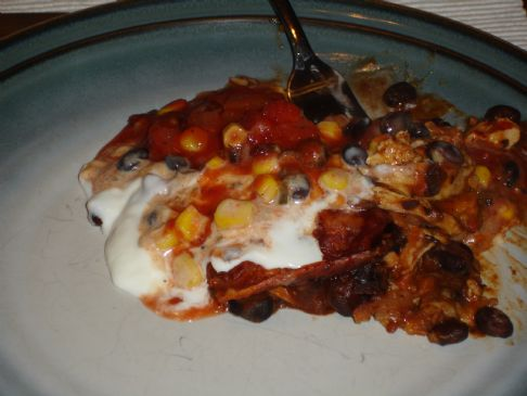 Chicken Tostada Casserole with Spicy Corn Relish