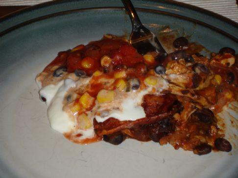 Chicken Tostada Casserole with Spicy Corn Relish
