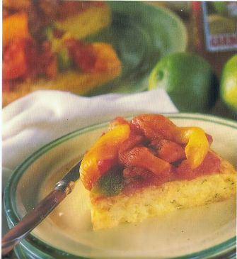 Cornmeal Tart with Roast Bell Pepper Ratatouille