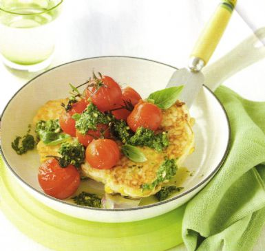 Corn & Ricotta Cakes with Grilled Tomatoes