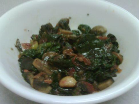Spinach, Beet Greens and Mushroom Saute'