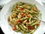 Pasta Tossed With a Spinach Basil Sauce and Salmon