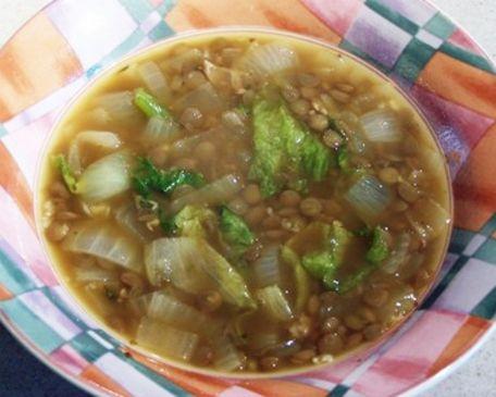 Onion Soup with Lentils, Sausage, & Escarole