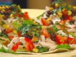 Chicken Tostada with Corn, Jalapenos and Black Beans