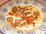 Braised Italian Chicken Sausage and Peppers with Penne