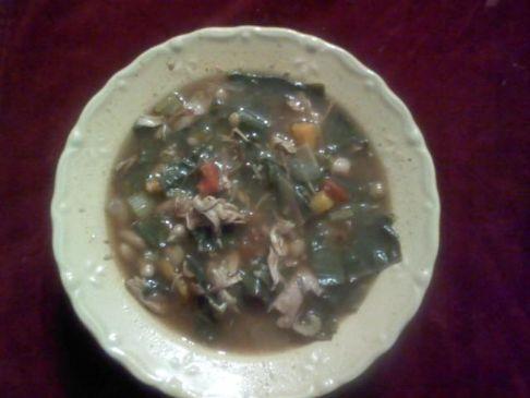 Chicken, Bean, Brussel leaf soup