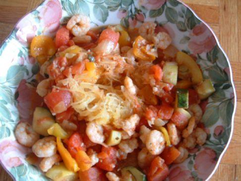 Roasted Spaghetti Squash with Veggie Tomato Sauce & Shrimp