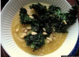 Acorn Squash Soup with Roasted Kale and Pinenuts