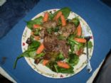 Chicken Livers & Garlic Italiano with bed of veggies & barley