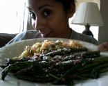 Spinach & Asparagus in Red Wine Reduction