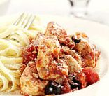 Chicken Cacciatore over Whole Wheat Pasta