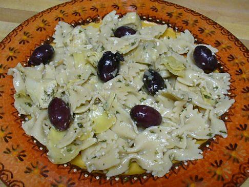 Multigrain Farfalle with Kalamata Olives in an Artichoke Marinade