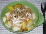 Warmed Pears with cheese and nuts
