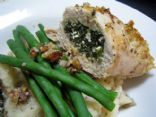 Walnut Crusted Chicken Stuffed w/ Spinach and Cottage Cheese