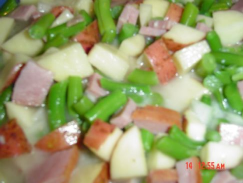 Ham, Green Bean, Potato Soup in crockpot