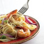 Spaghetti with Peppers & Shrimp