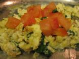 Feta and basil scrambled eggs with extra whites