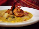 Poblano-Corn chowder with Grilled Shellfish
