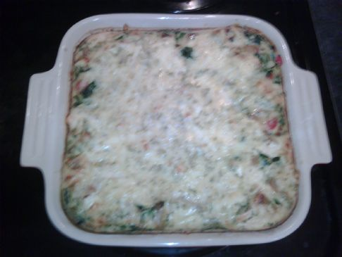 Salmon and Spinach no-pastry quiche