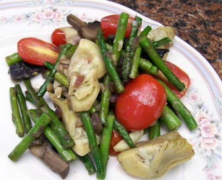 Asparagus, Artichoke and Mushroom Saute