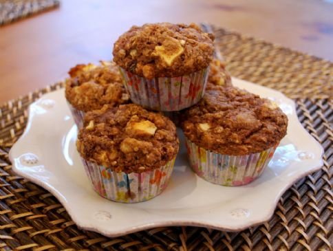 Apple-Oat-Walnut-Flax Muffins