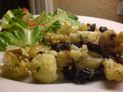 Mark Bittman's ROASTED CAULIFLOWER, RAISINS AND ANCHOVY VINAIGRETTE