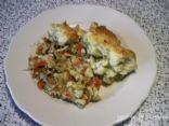 Chicken casserole, cheese dough