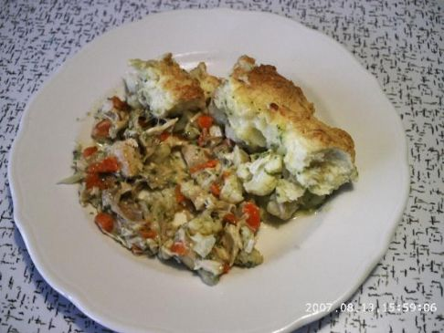 Chicken casserole, cheese dough