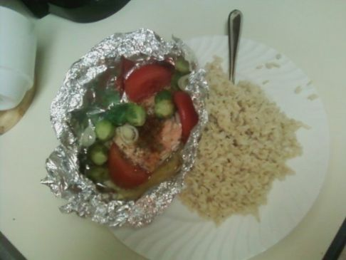 Baked Salmon with Tomato, Brussel Sprouts, and Onion