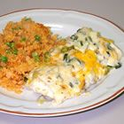 JP's lowfat chicken green chile enchiladas