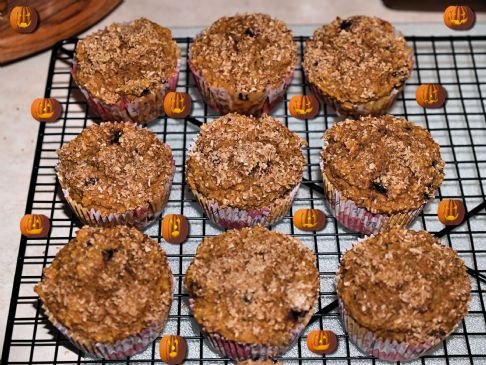 Whole Grain Banana Pumpkin Blueberry Muffins