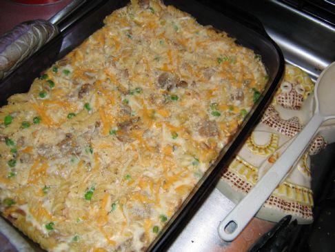Rumbamel's Creamy Tuna Noodle Casserole with Peas