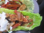 Chicken Fajitas with guacamole and sour cream (sans tortilla shell)