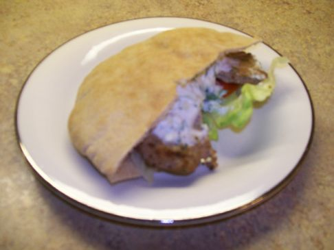 Turkey Pitas with Greek Sauce