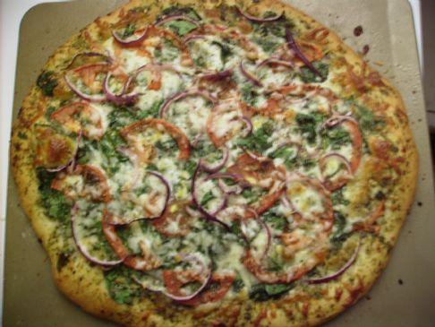 Pesto Spinach Tomato Pizza