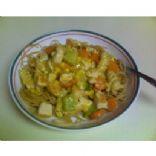 Garlic Chicken Veggie Skillet on Pasta