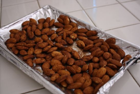 Sweet and Savory Roasted Almonds with a Little Spice