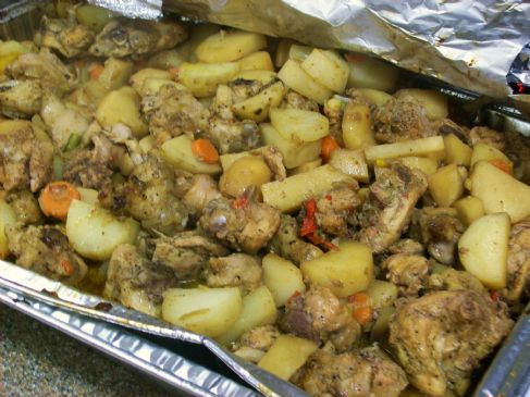 Jamaican Brown Stew Potatoes and Chicken